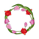 Round frame of red and pink tulip flowers with place for text Stock Image