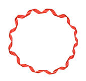 Round frame of red ribbon Stock Photos