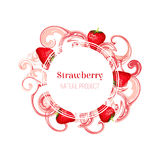 Round frame with red strawberries. Isolated round frame with red strawberries and pink stain and splash. Cartoon style. Vector illustration for business Stock Photos