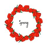 Round frame of red tulips and green leaves. stock illustration