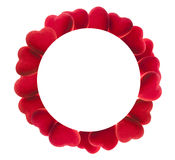 Round frame of red velvet hearts Stock Photography