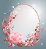 Round frame and  rose. Round frame, bubbles and pink rose Stock Photography