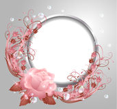 Round frame and rose Royalty Free Stock Photo