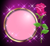 Round frame and rose Royalty Free Stock Images