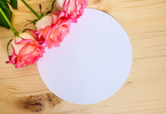 Round frame with rose Stock Photo