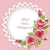 Round frame with roses vector illustration