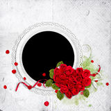 Round frame with roses heart on the white Royalty Free Stock Photography