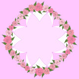 Round frame of roses with leaves of different sizes with space for text, inside a concave octagon. wedding Royalty Free Stock Photography