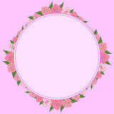 A round frame of roses with leaves of different sizes with space for text. Tenderness, wedding. A round, uniform frame of roses with leaves of different sizes Stock Images