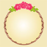 Round frame with roses vector. Round frame with roses greeting card festive background place for text vector Stock Photo