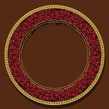 Round frame ruby color with shadow. On brown background Royalty Free Stock Photo