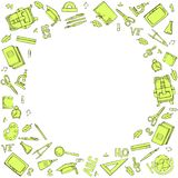 Round frame of school supplies. Vector black and white illustration. Linear doodles. stock illustration