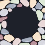 Round frame with sea pebbles on black background. Vector illustration Stock Photos