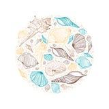 Round frame seashells. Illustration background Royalty Free Stock Image