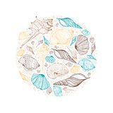 Round frame seashells. Illustration background vector illustration