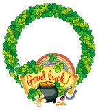 Round frame with shamrock and leprechaun pot of gold. Raster cli Royalty Free Stock Photo