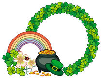Round frame with shamrock and leprechaun pot of gold. Raster clip art.
