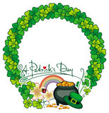 Round frame with shamrock and leprechaun pot of gold. Raster cli Royalty Free Stock Image