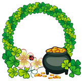 Round frame with shamrock and pot of gold. Raster clip art. Stock Photos