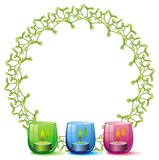 Round frame in shape of Christmas garland and lighted candle Royalty Free Stock Images