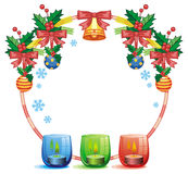 Round frame in shape of Christmas garland and lighted candle Royalty Free Stock Photography