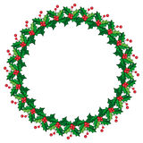 Round frame in shape of wreath with holly berry. Royalty Free Stock Photography