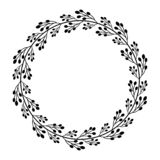 Round frame with simple abstract black branches. Round frame with abstract black branches.Decoration for greeting card,wedding invitation,save the date.Wreath royalty free illustration