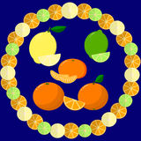 Round frame from slices of orange, lime and lemon on a dark background. Royalty Free Stock Photography