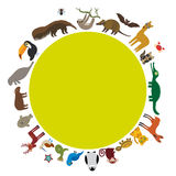 Round frame. Sloth anteater toucan lama bat seal Stock Image
