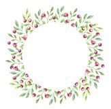 Round frame with small red flowers and berries and small green leaves for your invitation or card vector illustration