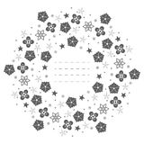 Round frame with snowflakes, flowers, stars and decorative eleme Stock Image