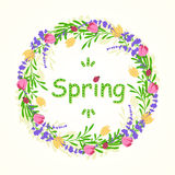 Round frame of spring with flowers and leaves. Vector Illustration Stock Images