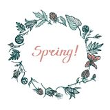 Round frame with spring plants. Congratulations to the spring. Lettering. Geum Rivale, ferns, cloudberries, wood violet. Hand Draw. N. Vector illustration Royalty Free Stock Photo