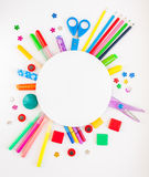Round frame. Stationery on the white background. Stock Images