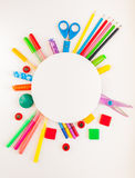 Round frame. Stationery on the white background. Royalty Free Stock Images