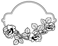 Round frame with stylized roses silhouettes. Raster clip art. Royalty Free Stock Photo