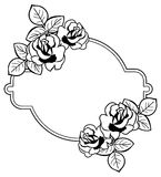 Round frame with stylized roses silhouettes. Raster clip art. Stock Photography