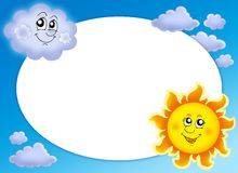 Round frame with Sun and cloud Royalty Free Stock Photos
