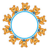 Round frame with Teddy Bears. And blue hearts Stock Images