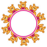 Round frame with Teddy Bears Stock Image