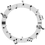 Round frame template with music notes on scales. Illustration Royalty Free Stock Photo