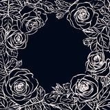 Round frame template with outline roses. Chalkboard royalty free illustration