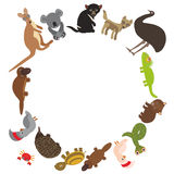 Round frame for text Animals Australia: Echidna Platypus ostrich Emu Tasmanian devil Cockatoo parrot Wombat snake Monitor lizard. Turtle kangaroo dingo. Vector stock illustration