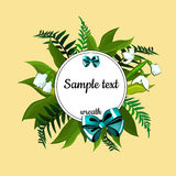 Round frame with text and decor of lilies Stock Photography