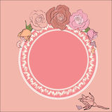Round frame for text framed by roses. Vintage roses frame with round field for the text, ideal background for Valentine`s day, Wedding, Women Day or any romantic Stock Photography
