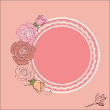 Round frame for text framed by roses. Vintage roses frame with round field for the text, ideal background for Valentine`s day, Wedding, Women Day or any romantic Royalty Free Stock Photo