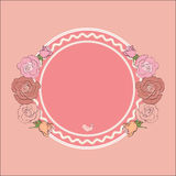 Round frame for text framed by roses. Vintage roses frame with round field for the text, ideal background for Valentine`s day, Wedding, Women Day or any romantic Royalty Free Stock Photography