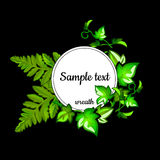 Round frame with the text and with leaves of fern Stock Photography