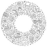 Round frame Travel cartoon objects, symbols and items. Line art vector hand drawn set of Travel cartoon doodle objects, symbols and items. Round frame Royalty Free Stock Photography