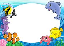 Round frame with tropical fishes Stock Photography